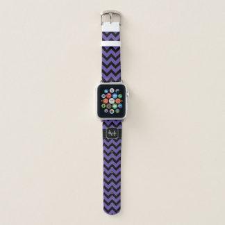 Ultraviolettes lila schwarzes Zickzack Muster Apple Watch Armband