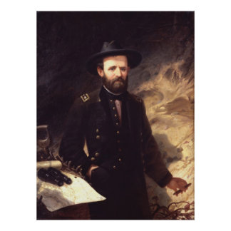 ULYSSES S. GRANT Portrait durch altes P.H. Balling Poster
