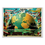 Um die Weltreise-Vintage Reise Poster