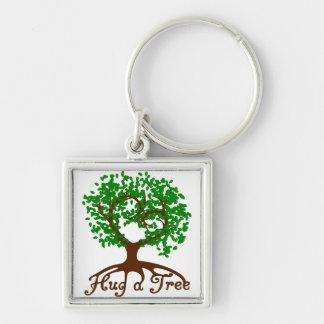 Umarmen Sie einen Baum Keychain Silberfarbener Quadratischer Schlüsselanhänger