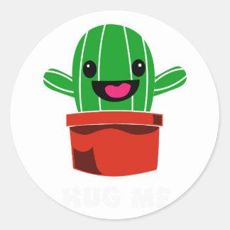Umarmen Sie mich - Kaktus Runder Aufkleber