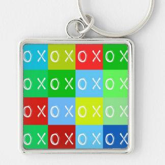 ╳◯╳◯ Umarmungen u. Küsse! Schablone keychain Silberfarbener Quadratischer Schlüsselanhänger