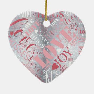 Umarmungen und Küsse fassen Wolke rosa/silbernes Keramik Herz-Ornament