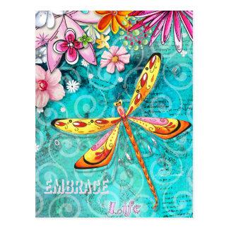 Umarmungs-Leben-Libellen-Postkarte Postkarte