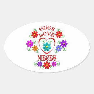 Umarmungs-Liebe-Nichten Ovaler Aufkleber