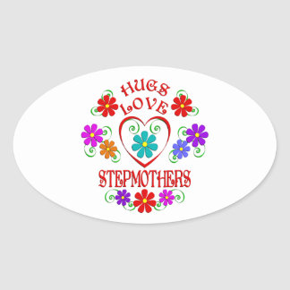 Umarmungs-Liebe-Stiefmütter Ovaler Aufkleber