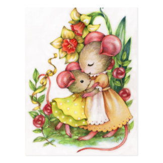 Umarmungs-Mäusemäusepostkarte der Mutter Postkarte