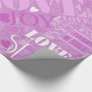 Umarmungs-und Kuss-Wort-Wolken-Orchidee ID286 Geschenkpapier