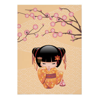 Ume Kokeshi Puppe - japanisches Poster