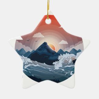 Umgeben durch Sturm Keramik Stern-Ornament