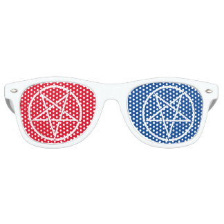 Umgekehrter Pentagram mit Farben 3D-style Sonnenbrille