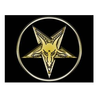 Umgekehrter Pentagram mit goldenem Ziegen-Kopf Postkarte