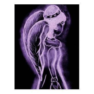 Umgekehrter seitlich Engel in Lila Postkarten