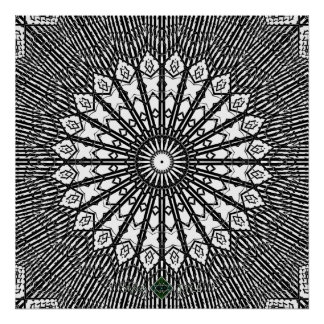 Umgewandelte Spiegel-Mandala Poster