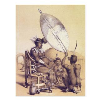 Umpanda der König des Amazulu, 1849 Postkarte