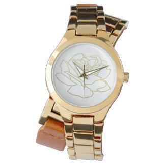 umrissene GoldRosen-Blume nett Armbanduhr