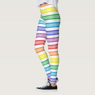 Umrissener Streifen-Regenbogen Leggings