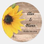 Umschlagaufkleber der Sonnenblume Save the Date Runder Aufkleber