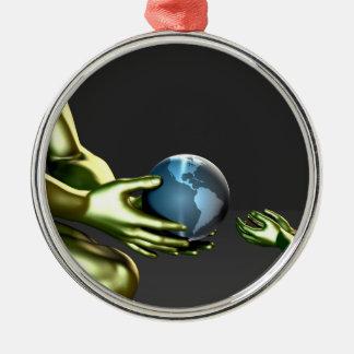 Umweltfreundliches Bewusstsein für Kinder Silbernes Ornament