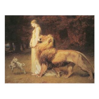 Una und der Löwe Postkarte