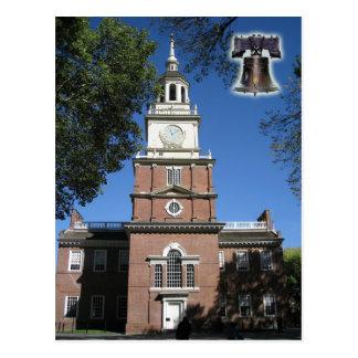 Unabhängigkeit Hall und Liberty Bell, PA Postkarte