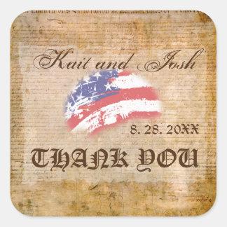 Unabhängigkeitserklärung USA-Patrioten danken Quadratischer Aufkleber