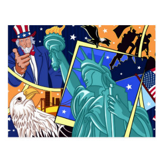 Unabhängigkeitstag-Collagen-Kunst Postkarte