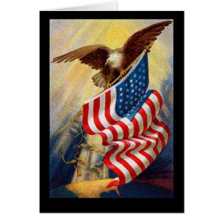 Unabhängigkeitstag-Flagge u. Adler-Party Einladung Grußkarte