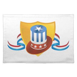 Unabhängigkeitstag-Hut-und Schild-Fahne Stofftischset