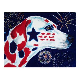 Unabhängigkeitstag-Stern Spangled Dalmatiner Postkarte