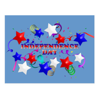 Unabhängigkeitstag-Sterne und Confetti-Postkarte Postkarte
