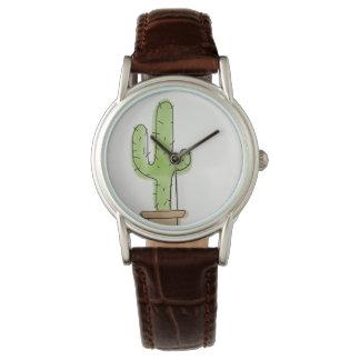 Unbedeutende Aquarell-Kaktus-Uhr ohne Zahlen Uhr