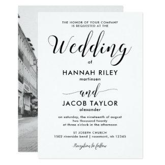 Unbedeutende Foto-Schwarzweiss-Hochzeit 12,7 X 17,8 Cm Einladungskarte