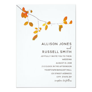 Unbedeutende Hochzeit im Herbsts-Einladung Karte