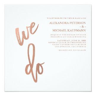 Unbedeutende Imitat-Rosen-Goldtypographie-Hochzeit Karte