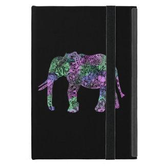 unbedeutender bunter Stammes- Blumenneonelefant iPad Mini Etuis