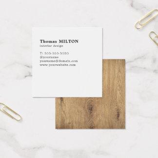 Unbedeutender eleganter hölzerner weißer quadratische visitenkarte