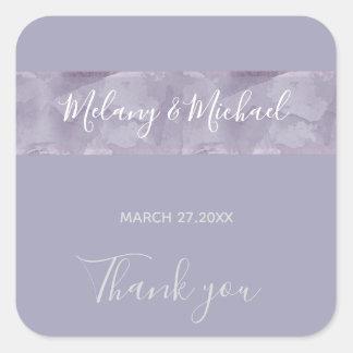 Unbedeutender Lavendel-Aquarellstreifen danken Quadratischer Aufkleber