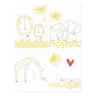 Unbedeutender Löwe, Schildkröte, Krokodil und Postkarte