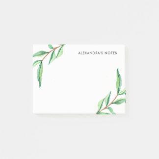 Unbedeutendes grünes Watercolor-Blätter auf Weiß Post-it Klebezettel