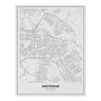 Unbedeutendes Karten-Plakat Amsterdams (Art 2) Poster