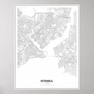 Unbedeutendes Karten-Plakat Istanbuls, die Türkei Poster