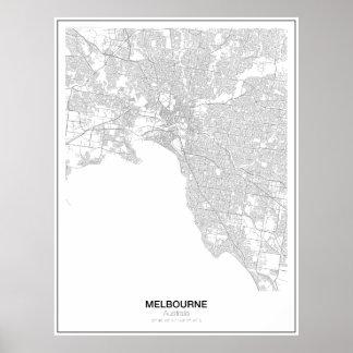 Unbedeutendes Karten-Plakat Melbournes, Australien Poster