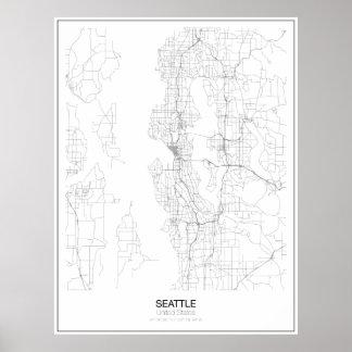 Unbedeutendes Karten-Plakat Seattles, Vereinigte Poster