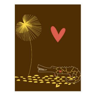 Unbedeutendes Krokodil mit Herzen und gelber Blume Postkarte