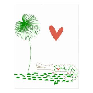 Unbedeutendes Krokodil mit Herzen und grüner Blume Postkarte