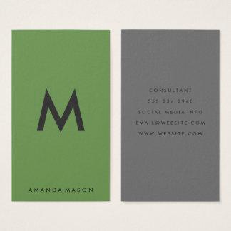 Unbedeutendes Monogramm-graues Grün Visitenkarte