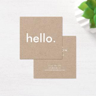 Unbedeutendes rustikales Kraftpapier hallo Quadratische Visitenkarte