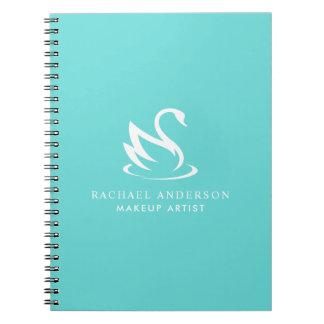 Unbedeutendes Schwan-Logo auf Robin-Ei-Blau Notizblock