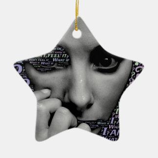unbekanntes Gesicht Keramik Stern-Ornament